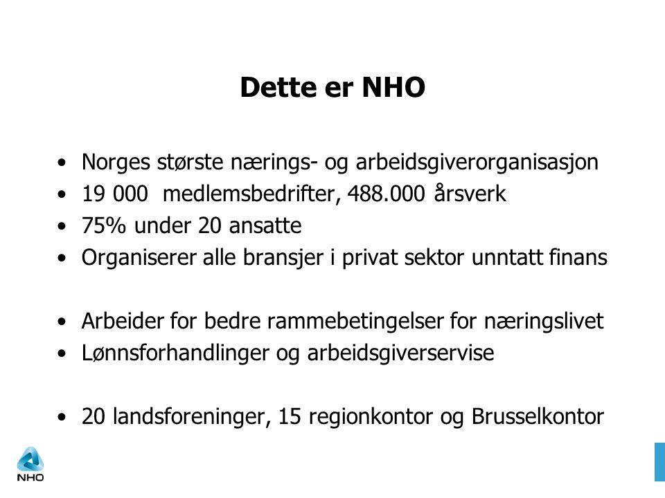 Dette er NHO •Norges største nærings- og arbeidsgiverorganisasjon •19 000 medlemsbedrifter, 488.000 årsverk •75% under 20 ansatte •Organiserer alle br