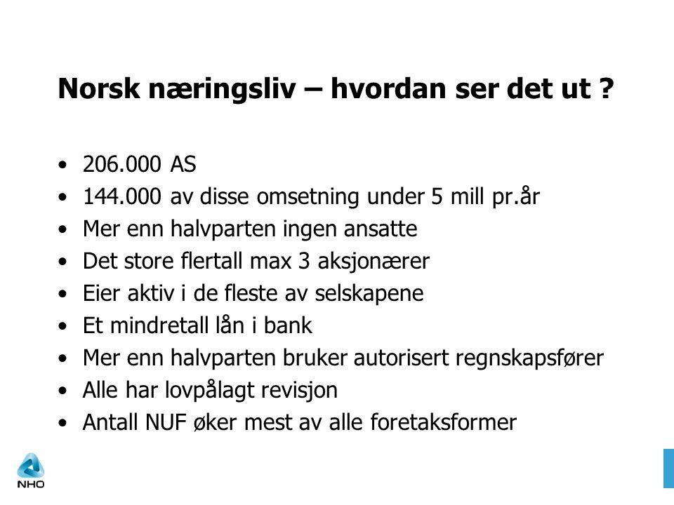 Norsk næringsliv – hvordan ser det ut ? •206.000 AS •144.000 av disse omsetning under 5 mill pr.år •Mer enn halvparten ingen ansatte •Det store flerta