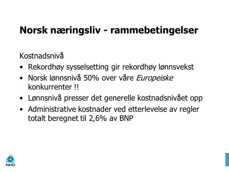 Norsk næringsliv - rammebetingelser Kostnadsnivå •Rekordhøy sysselsetting gir rekordhøy lønnsvekst •Norsk lønnsnivå 50% over våre Europeiske konkurren