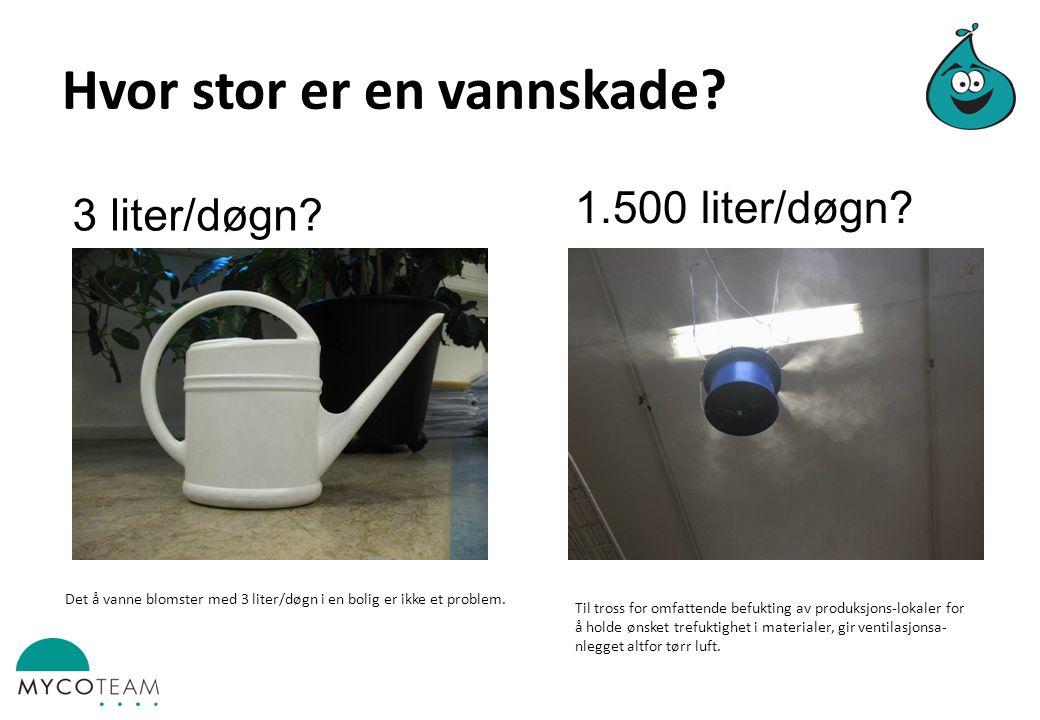 Hvor stor er en vannskade.3 liter/døgn. 1.500 liter/døgn.