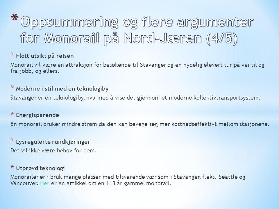 * Flott utsikt på reisen Monorail vil være en attraksjon for besøkende til Stavanger og en nydelig elevert tur på vei til og fra jobb, og ellers. * Mo