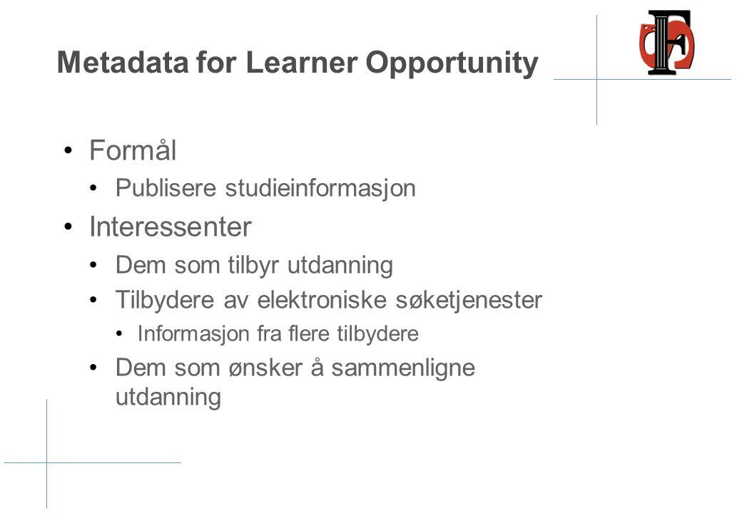 Metadata for Learner Opportunity •Formål •Publisere studieinformasjon •Interessenter •Dem som tilbyr utdanning •Tilbydere av elektroniske søketjeneste