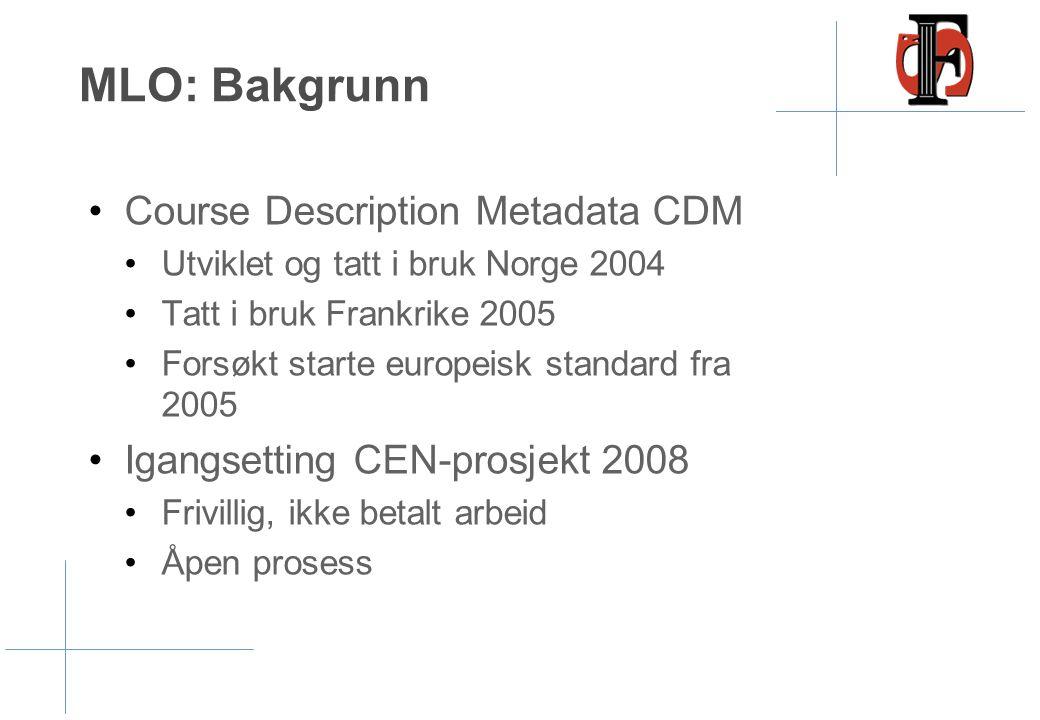 MLO: Bakgrunn •Course Description Metadata CDM •Utviklet og tatt i bruk Norge 2004 •Tatt i bruk Frankrike 2005 •Forsøkt starte europeisk standard fra