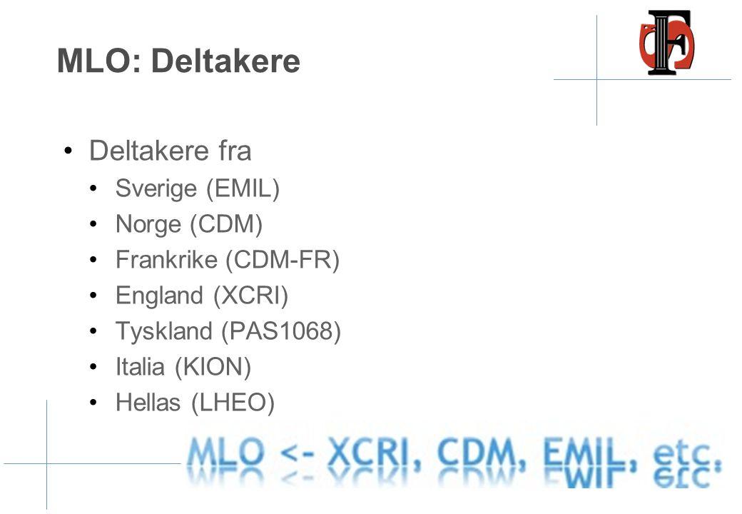 MLO: Deltakere •Deltakere fra •Sverige (EMIL) •Norge (CDM) •Frankrike (CDM-FR) •England (XCRI) •Tyskland (PAS1068) •Italia (KION) •Hellas (LHEO)