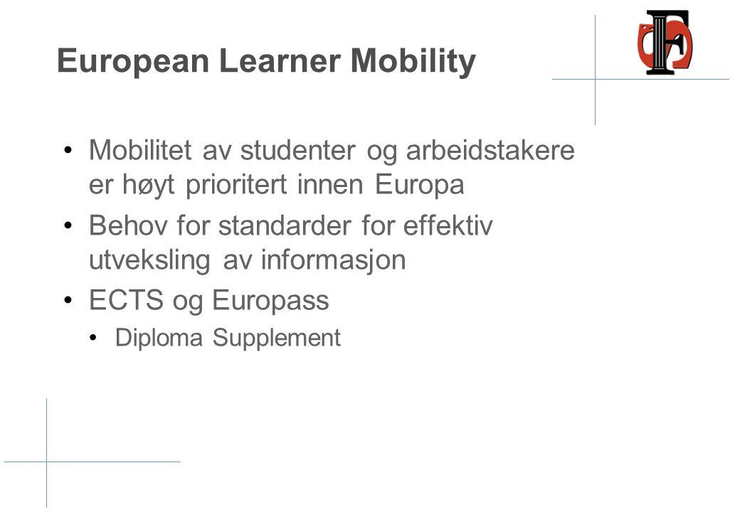 European Learner Mobility •Mobilitet av studenter og arbeidstakere er høyt prioritert innen Europa •Behov for standarder for effektiv utveksling av in