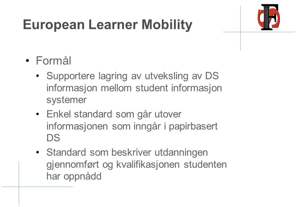 European Learner Mobility •Formål •Supportere lagring av utveksling av DS informasjon mellom student informasjon systemer •Enkel standard som går utov