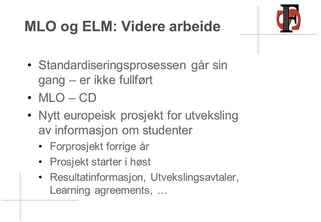 MLO og ELM: Videre arbeide •Standardiseringsprosessen går sin gang – er ikke fullført •MLO – CD •Nytt europeisk prosjekt for utveksling av informasjon