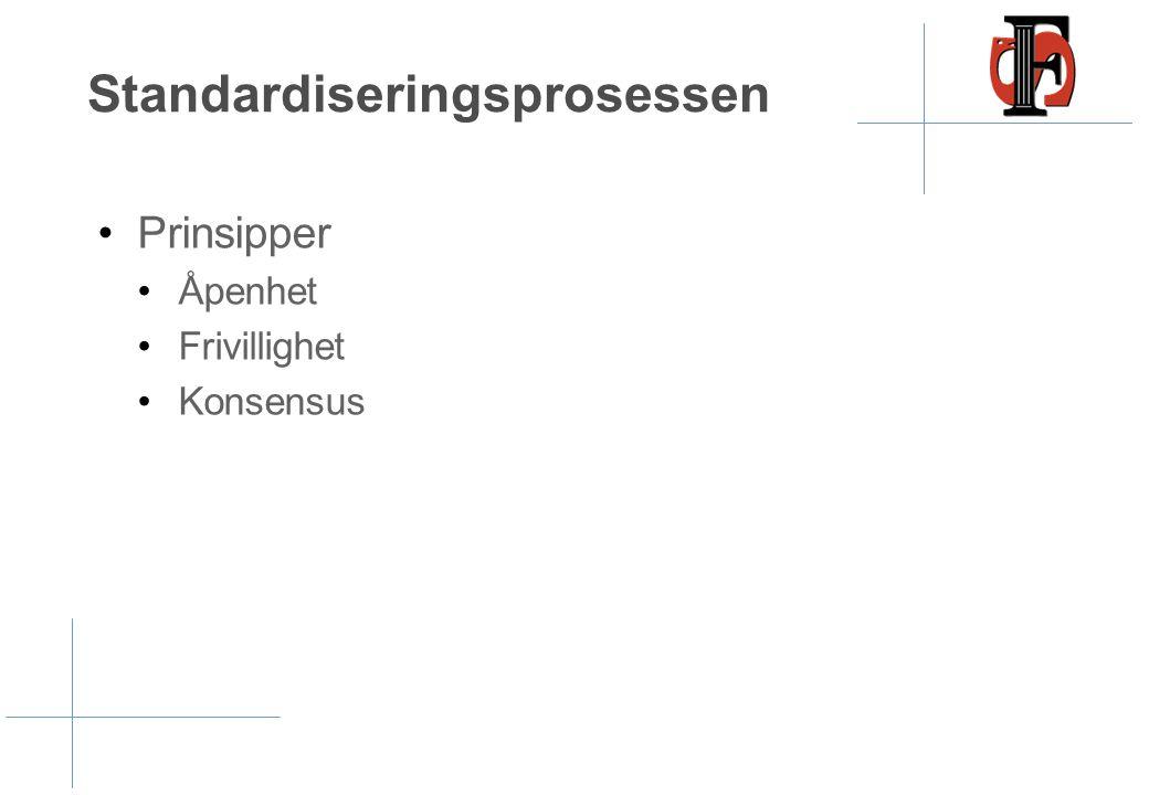 Standardiseringsprosessen •Prinsipper •Åpenhet •Frivillighet •Konsensus