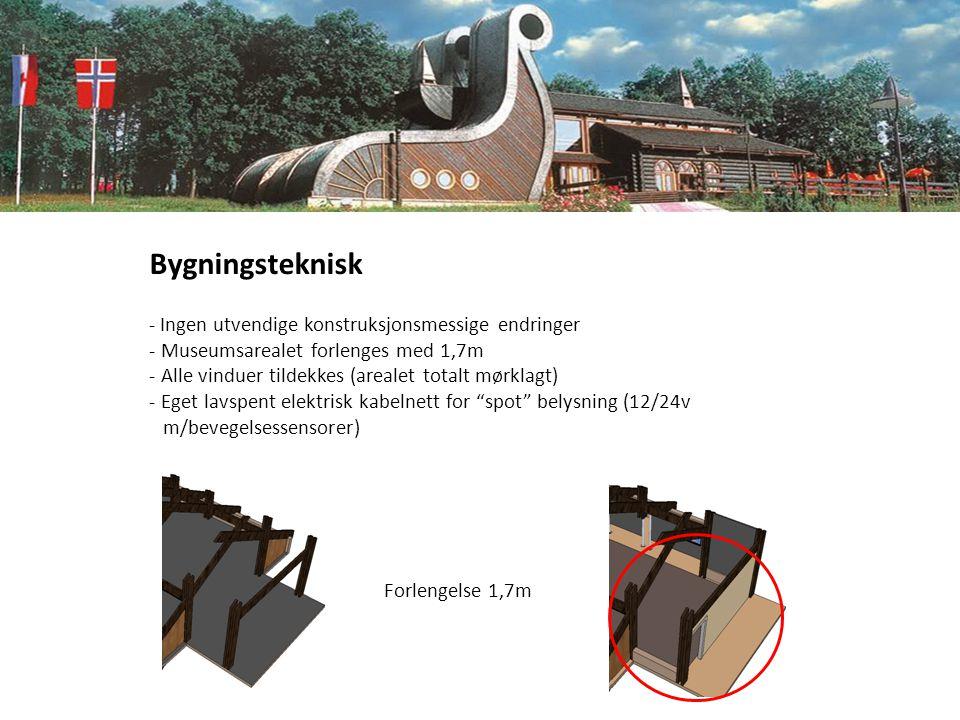Bygningsteknisk - Ingen utvendige konstruksjonsmessige endringer - Museumsarealet forlenges med 1,7m - Alle vinduer tildekkes (arealet totalt mørklagt) - Eget lavspent elektrisk kabelnett for spot belysning (12/24v m/bevegelsessensorer) Forlengelse 1,7m