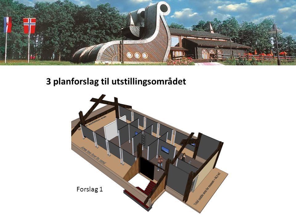 3 planforslag til utstillingsområdet Forslag 1