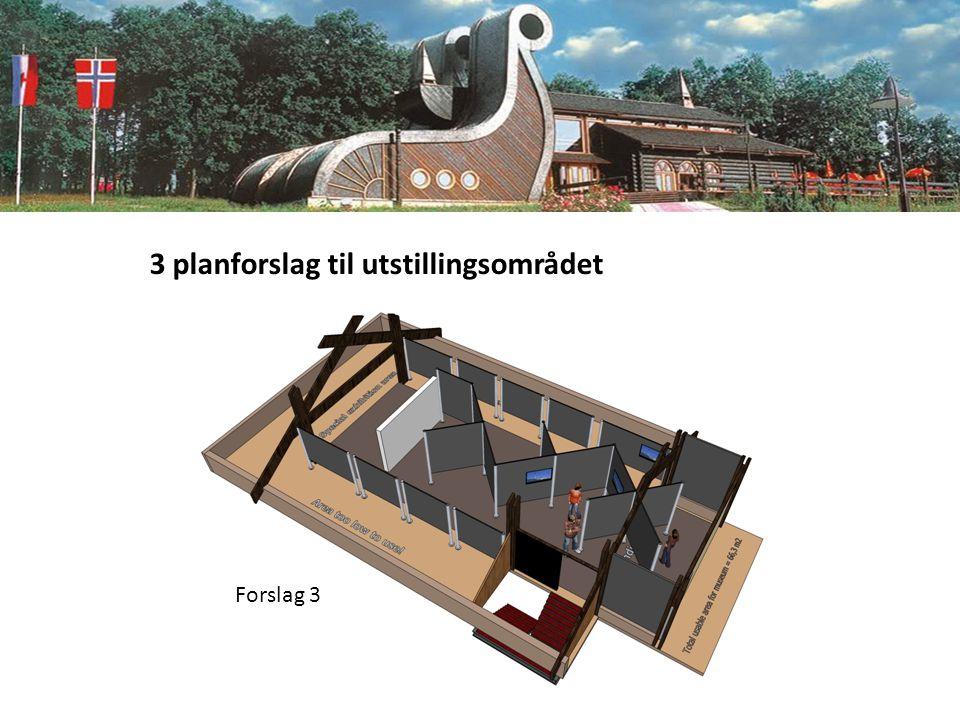 3 planforslag til utstillingsområdet Forslag 3