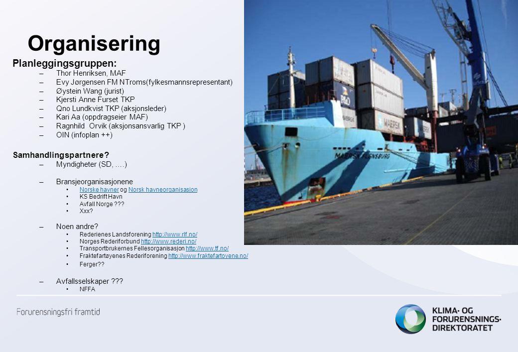 Organisering Planleggingsgruppen: –Thor Henriksen, MAF –Evy Jørgensen FM NTroms(fylkesmannsrepresentant) –Øystein Wang (jurist) –Kjersti Anne Furset T