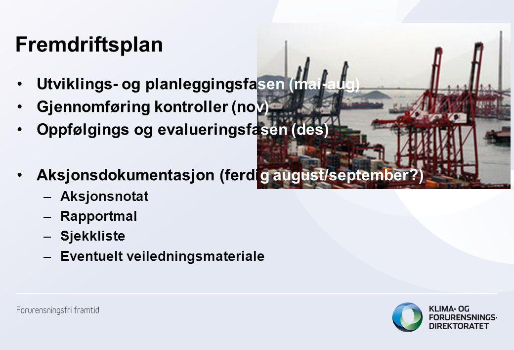 Fremdriftsplan •Utviklings- og planleggingsfasen (mai-aug) •Gjennomføring kontroller (nov) •Oppfølgings og evalueringsfasen (des) •Aksjonsdokumentasjo