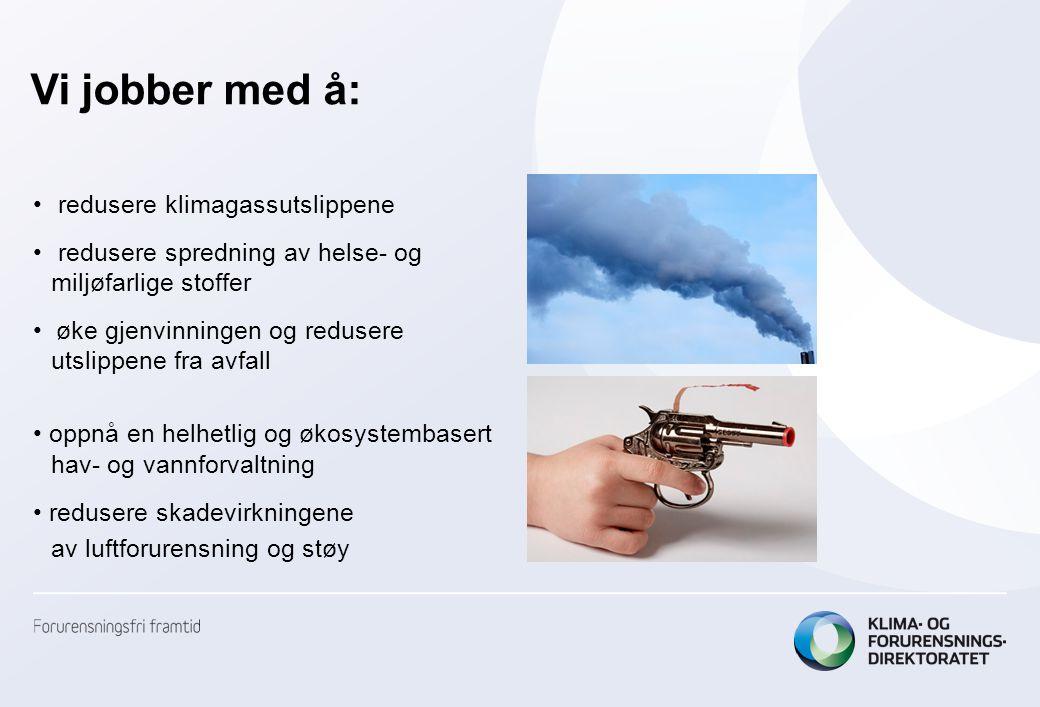Vi jobber med å: • redusere klimagassutslippene • redusere spredning av helse- og miljøfarlige stoffer • øke gjenvinningen og redusere utslippene fra