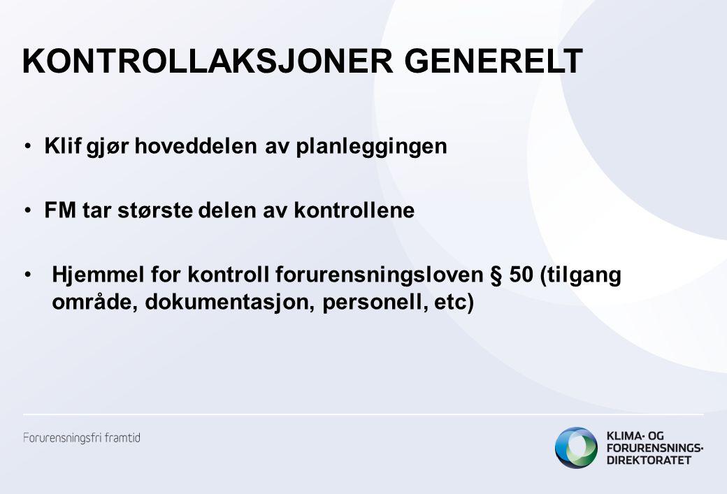 •Klif gjør hoveddelen av planleggingen •FM tar største delen av kontrollene •Hjemmel for kontroll forurensningsloven § 50 (tilgang område, dokumentasjon, personell, etc) KONTROLLAKSJONER GENERELT