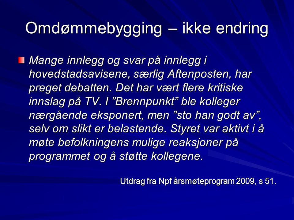 Omdømmebygging – ikke endring Mange innlegg og svar på innlegg i hovedstadsavisene, særlig Aftenposten, har preget debatten.