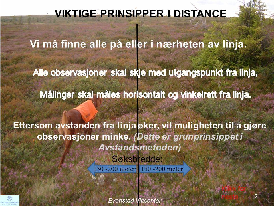 VIKTIG PRINSIPP I DISTANCE Antall observasjoner på eller i nærheten av linja blir regnet som 100%.