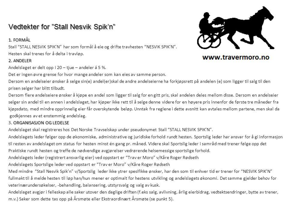 """Vedtekter for """"Stall Nesvik Spik'n"""" 1. FORMÅL Stall """"STALL NESVIK SPIK'N"""" har som formål å eie og drifte travhesten """"NESVIK SPIK'N"""". Hesten skal trene"""