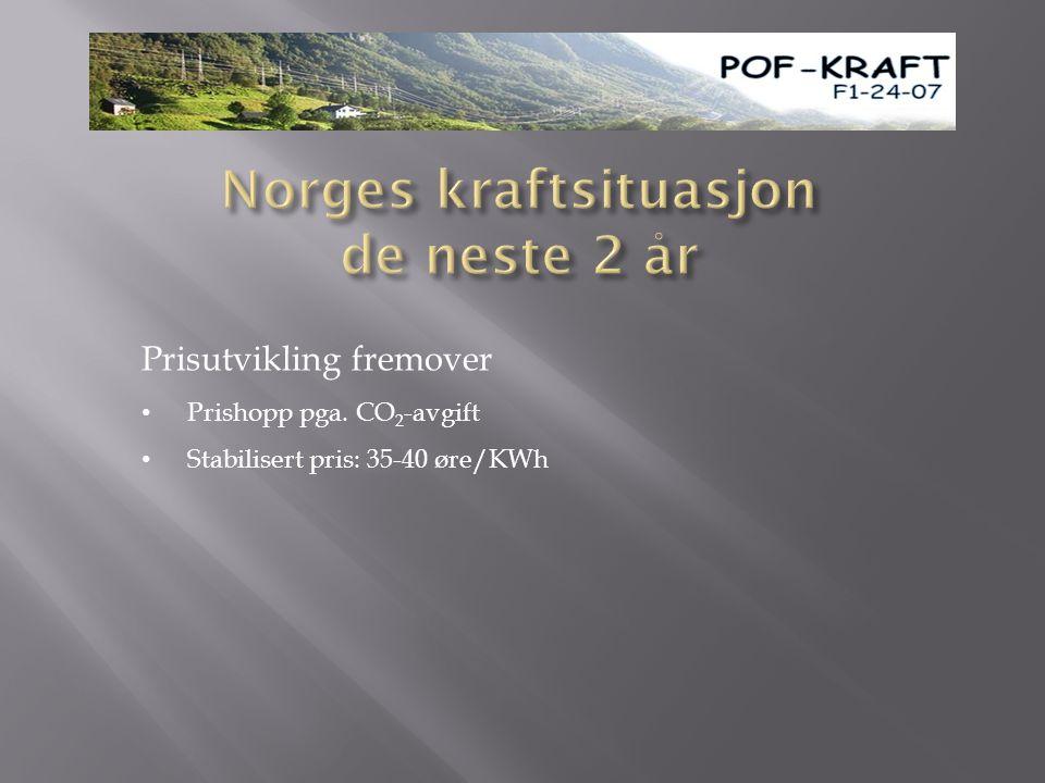 Prisutvikling fremover • Prishopp pga. CO 2 -avgift • Stabilisert pris: 35-40 øre/KWh