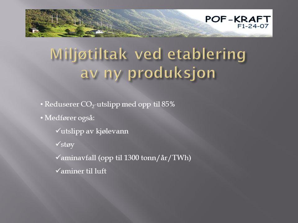 • Reduserer CO 2 -utslipp med opp til 85% • Medfører også:  utslipp av kjølevann  støy  aminavfall (opp til 1300 tonn/år/TWh)  aminer til luft