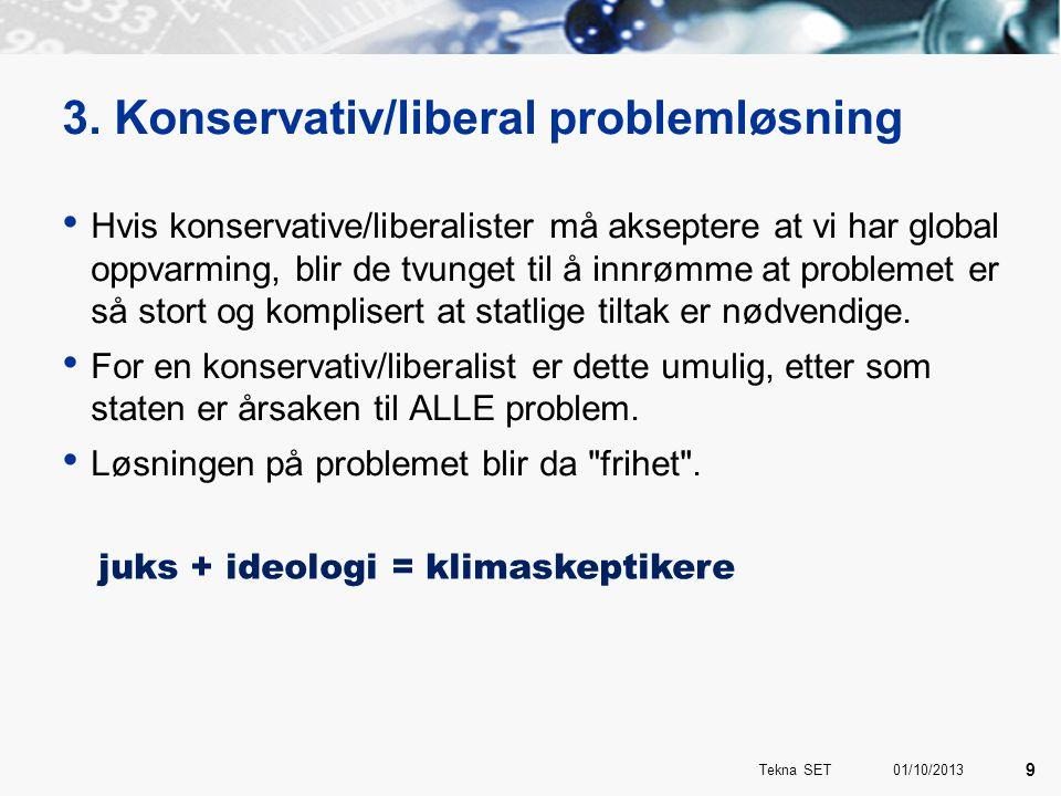 3. Konservativ/liberal problemløsning • Hvis konservative/liberalister må akseptere at vi har global oppvarming, blir de tvunget til å innrømme at pro