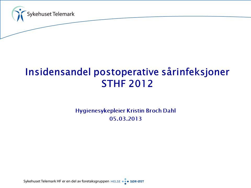 Insidensandel postoperative sårinfeksjoner STHF 2012 Hygienesykepleier Kristin Broch Dahl 05.03.2013