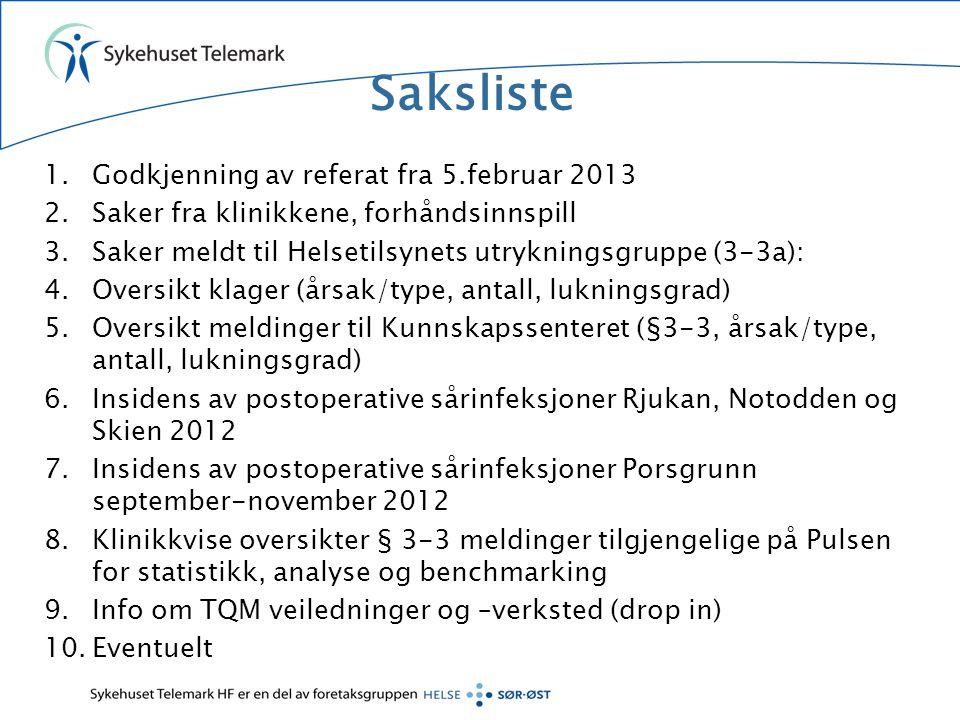 Saksliste 1.Godkjenning av referat fra 5.februar 2013 2.Saker fra klinikkene, forhåndsinnspill 3.Saker meldt til Helsetilsynets utrykningsgruppe (3-3a