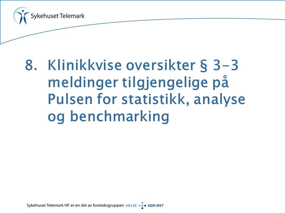 8.Klinikkvise oversikter § 3-3 meldinger tilgjengelige på Pulsen for statistikk, analyse og benchmarking