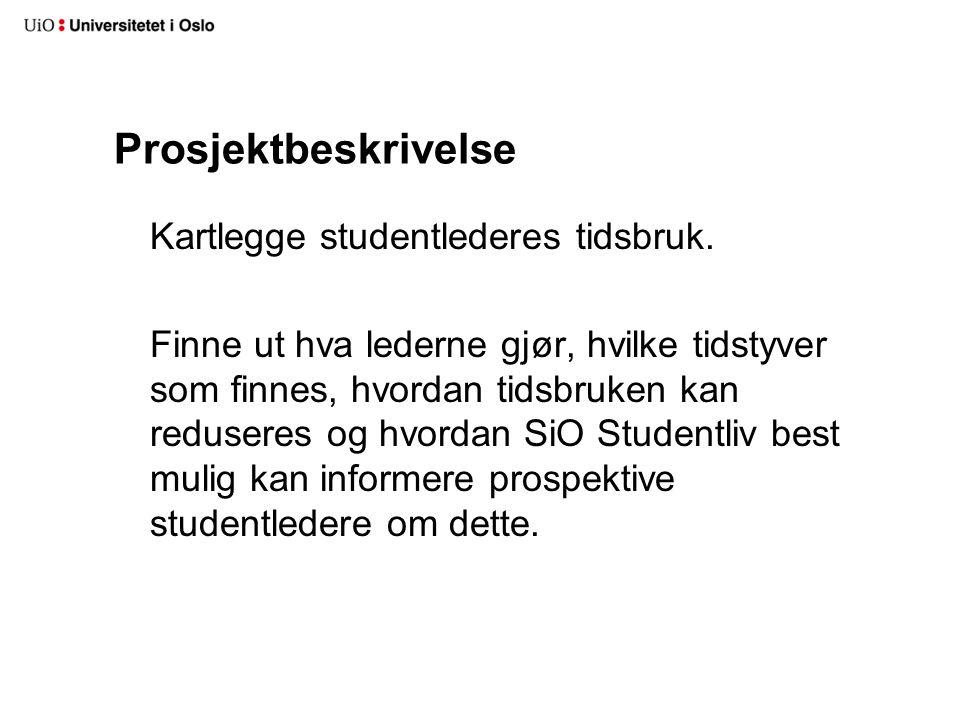 Prosjektbeskrivelse Kartlegge studentlederes tidsbruk.