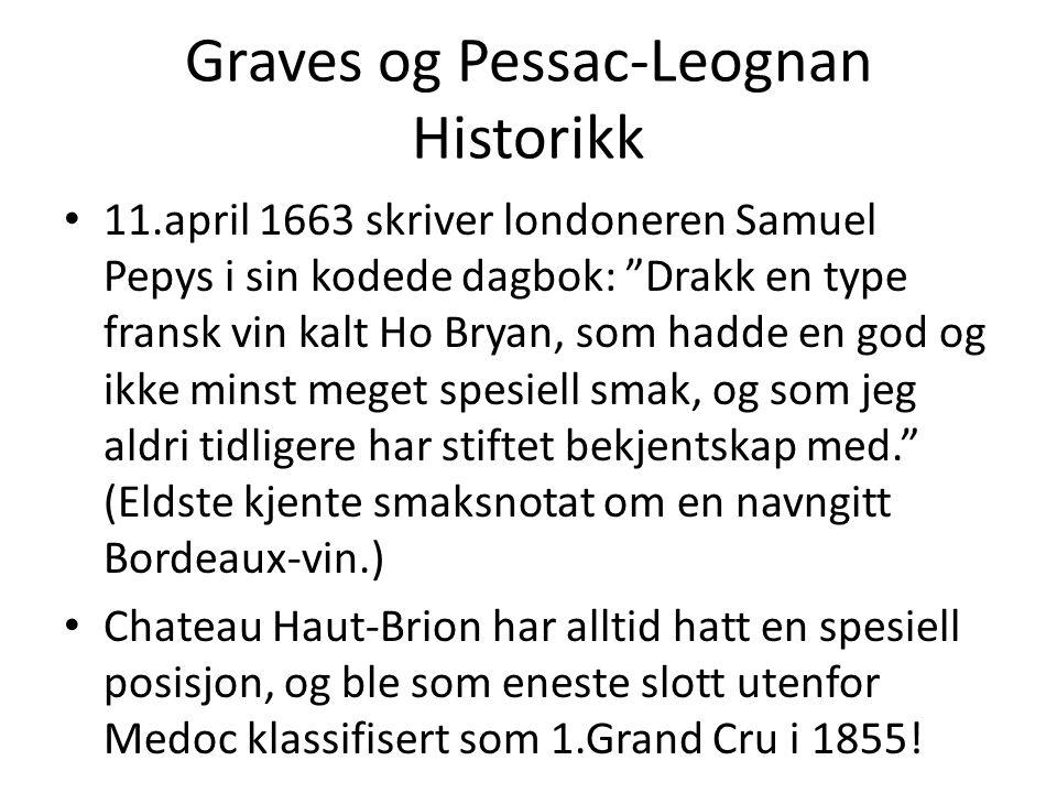 """Graves og Pessac-Leognan Historikk • 11.april 1663 skriver londoneren Samuel Pepys i sin kodede dagbok: """"Drakk en type fransk vin kalt Ho Bryan, som h"""