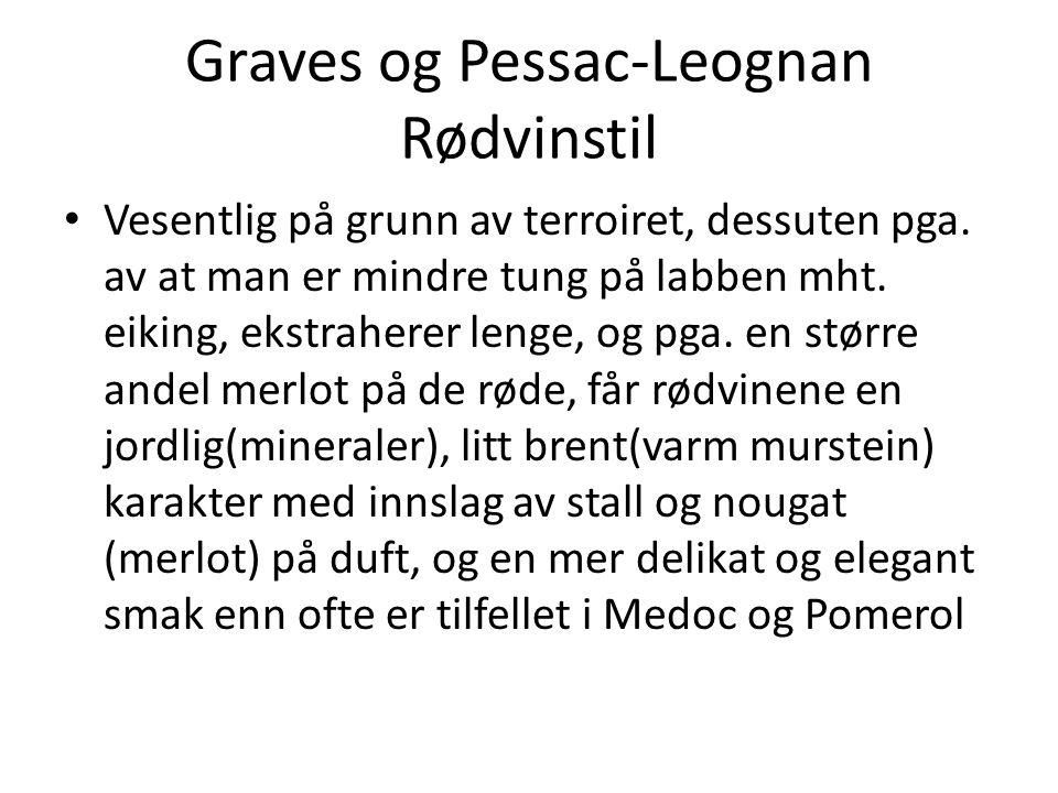 Graves og Pessac-Leognan Rødvinstil • Vesentlig på grunn av terroiret, dessuten pga. av at man er mindre tung på labben mht. eiking, ekstraherer lenge