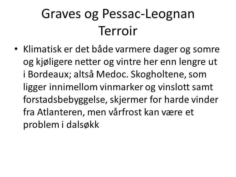 Graves og Pessac-Leognan Terroir • Jordsmonnet er vesentlig preget av grov glasifluvial grus fra siste istid, som også inne- holder betydelige mengder kvartsmineraler hos de beste eiendommene.