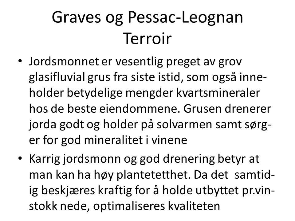Graves og Pessac-Leognan Terroir • Jordsmonnet er vesentlig preget av grov glasifluvial grus fra siste istid, som også inne- holder betydelige mengder
