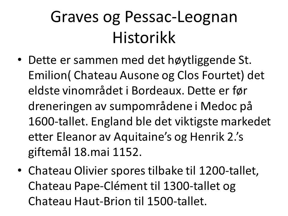 Graves og Pessac-Leognan Historikk • Dette er sammen med det høytliggende St. Emilion( Chateau Ausone og Clos Fourtet) det eldste vinområdet i Bordeau