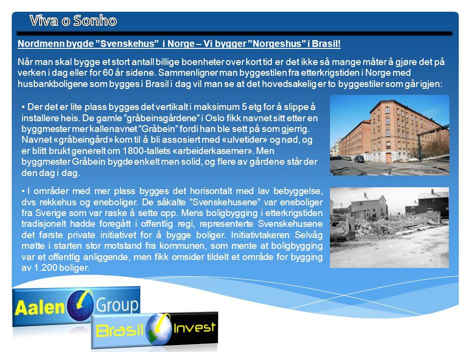 """Nordmenn bygde """"Svenskehus"""" i Norge – Vi bygger """"Norgeshus"""" i Brasil! Når man skal bygge et stort antall billige boenheter over kort tid er det ikke s"""