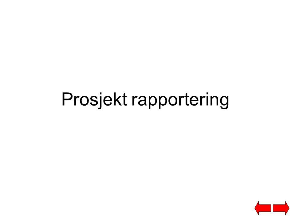 Prosjekt rapportering. Tilsvarende funksjonalitet som kunde og leverandør status.