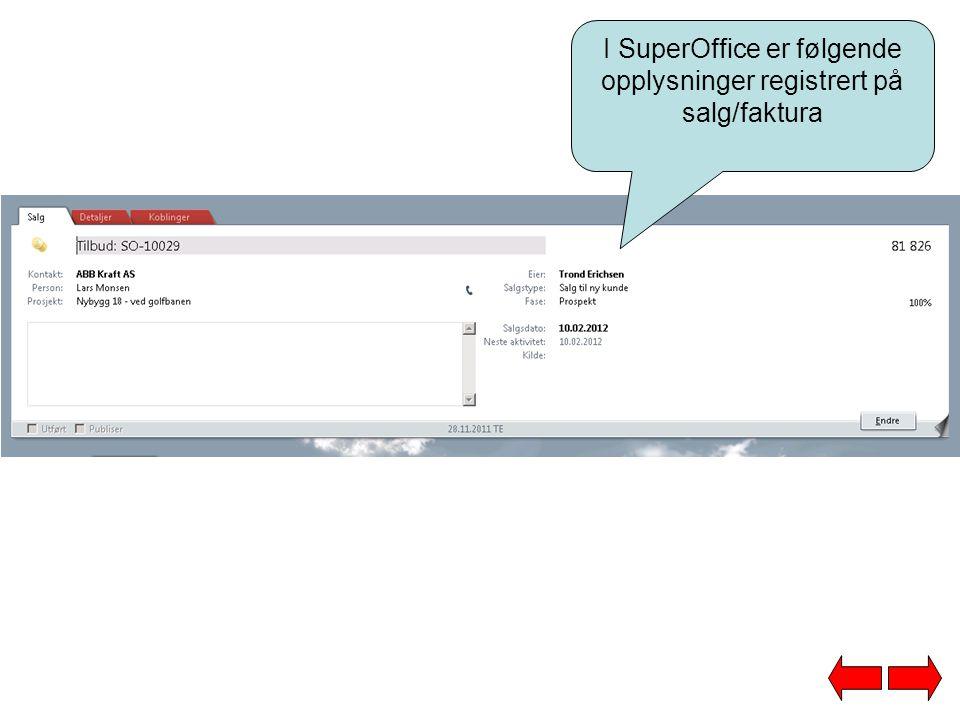 I SuperOffice er følgende opplysninger registrert på salg/faktura