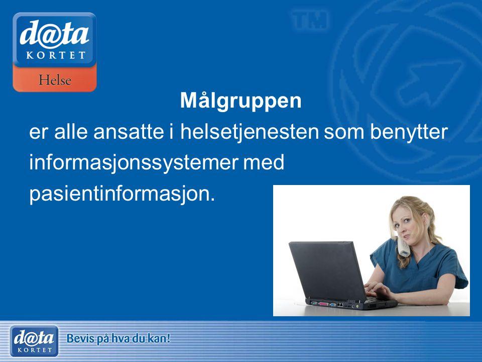 Målgruppen er alle ansatte i helsetjenesten som benytter informasjonssystemer med pasientinformasjon.