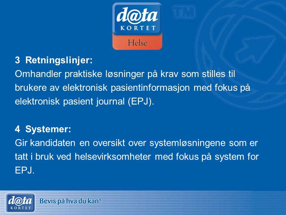 3 Retningslinjer: Omhandler praktiske løsninger på krav som stilles til brukere av elektronisk pasientinformasjon med fokus på elektronisk pasient jou