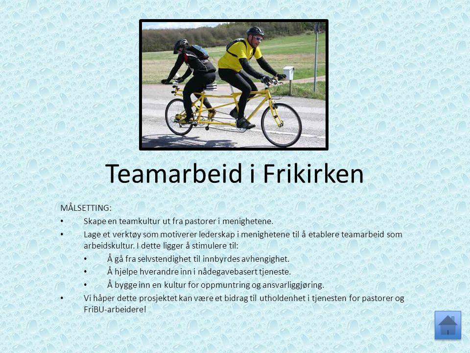 Teamarbeid i Frikirken MÅLSETTING: • Skape en teamkultur ut fra pastorer i menighetene. • Lage et verktøy som motiverer lederskap i menighetene til å