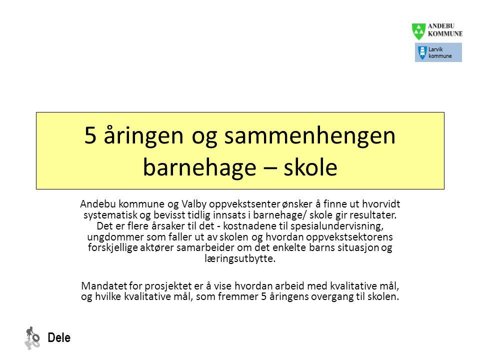 Dele Målgruppe 48 femåringer fra Monte Verde barnehage, Møyland barnehage, Gravdal barnehage som skal begynne på Andebu skole.