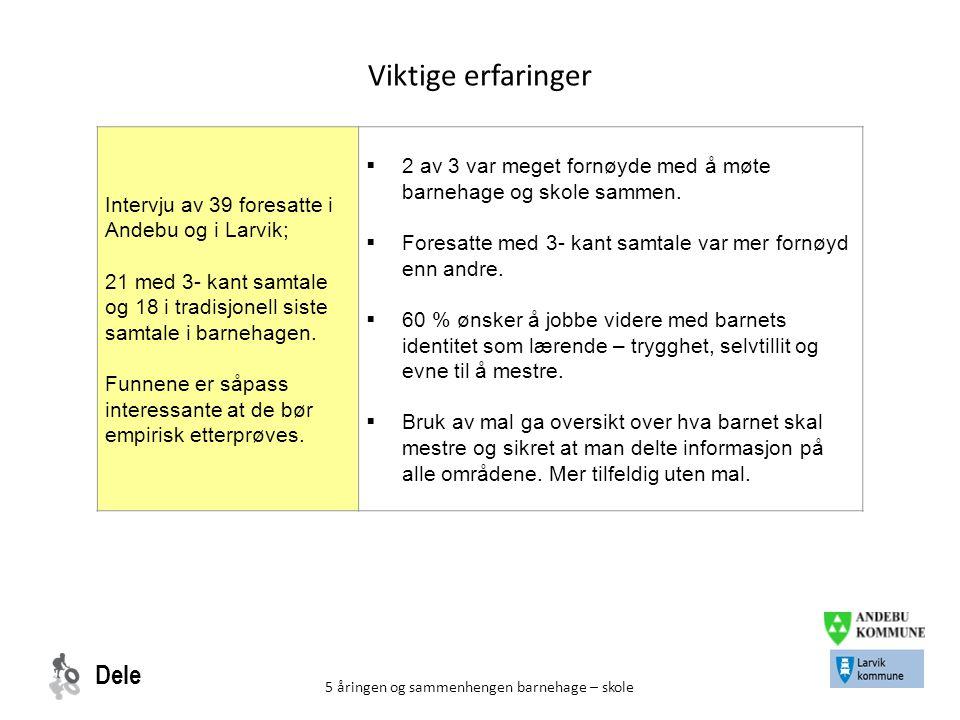 Dele 5 åringen og sammenhengen barnehage – skole Viktige erfaringer Intervju av 39 foresatte i Andebu og i Larvik; 21 med 3- kant samtale og 18 i trad
