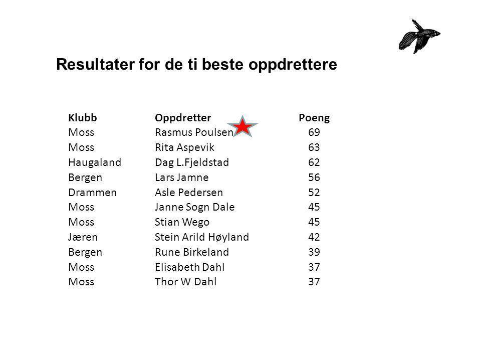 Resultater for de ti beste oppdrettere KlubbOppdretterPoeng MossRasmus Poulsen69 MossRita Aspevik63 HaugalandDag L.Fjeldstad62 BergenLars Jamne56 Dram
