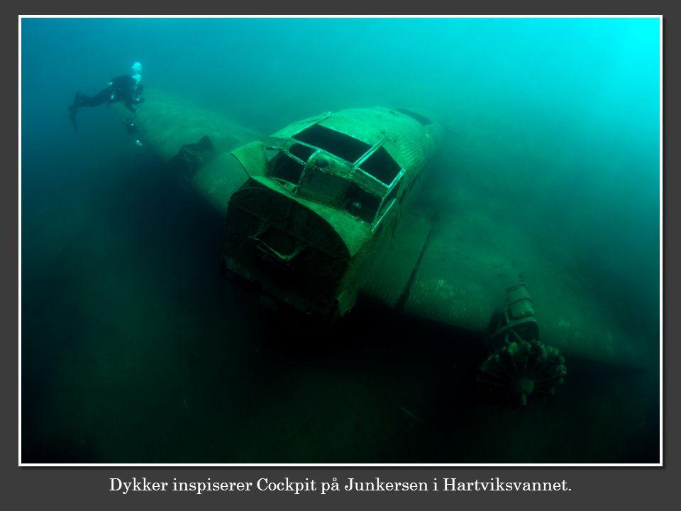 Dykker inspiserer Cockpit på Junkersen i Hartviksvannet.