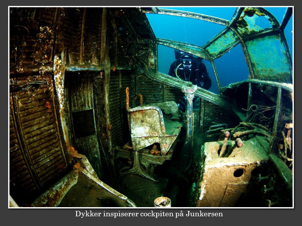 Dykker inspiserer cockpiten på Junkersen
