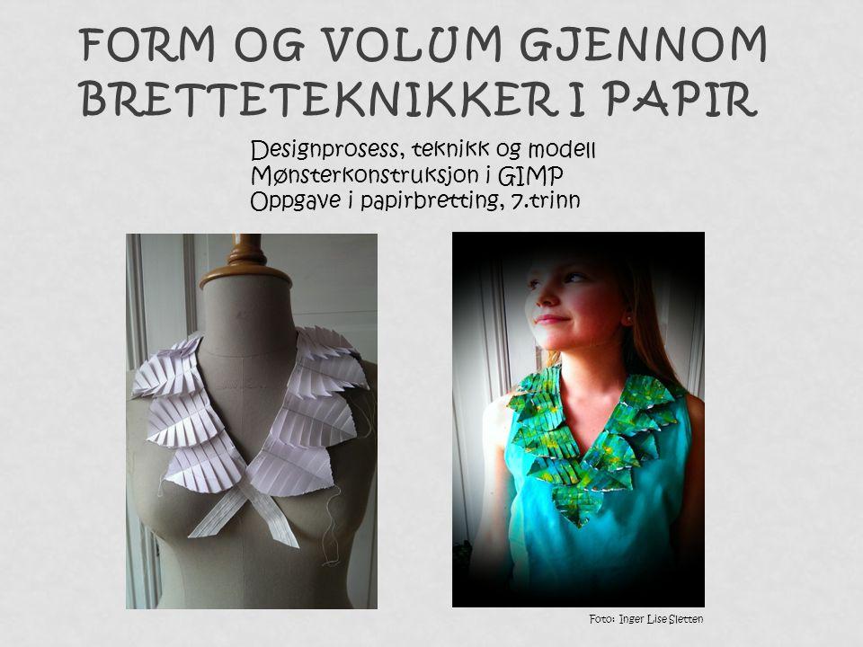 FORM OG VOLUM GJENNOM BRETTETEKNIKKER I PAPIR Foto: Inger Lise Sletten Designprosess, teknikk og modell Mønsterkonstruksjon i GIMP Oppgave i papirbret