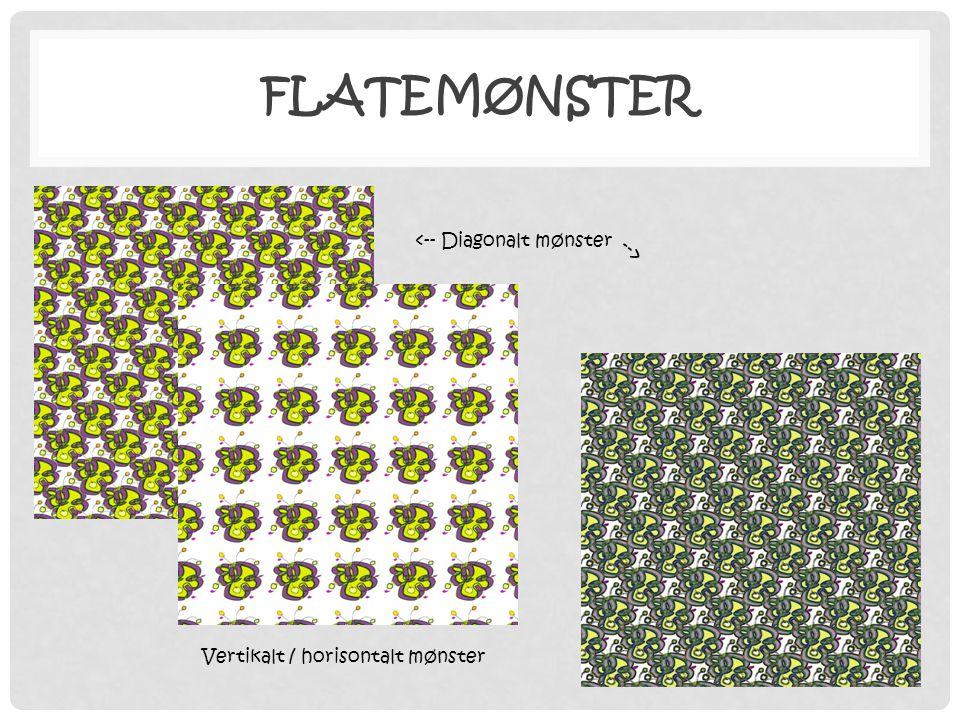 FLATEMØNSTER <-- Diagonalt mønster --> Vertikalt / horisontalt mønster