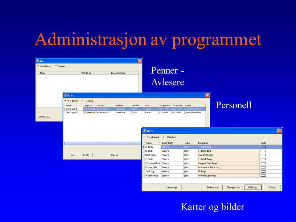 Administrasjon av programmet Penner - Avlesere Personell Karter og bilder