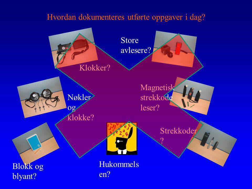 Hvordan dokumenteres utførte oppgaver i dag? Blokk og blyant? Nøkler og klokke? Strekkoder ? Magnetisk strekkode leser? Klokker? Store avlesere? Hukom