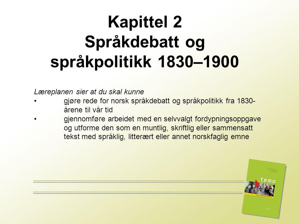 1 Læreplanen sier at du skal kunne • gjøre rede for norsk språkdebatt og språkpolitikk fra 1830- årene til vår tid • gjennomføre arbeidet med en selvv